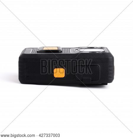 Black Officer Body Cam With Yellow Orange Button Sos. Personal Wearable Video Recorder, Portable Dvr