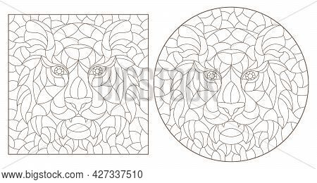 A Set Of Contour Illustrations In The Style Of Stained Glass With Abstract Tigers, Dark Contours On