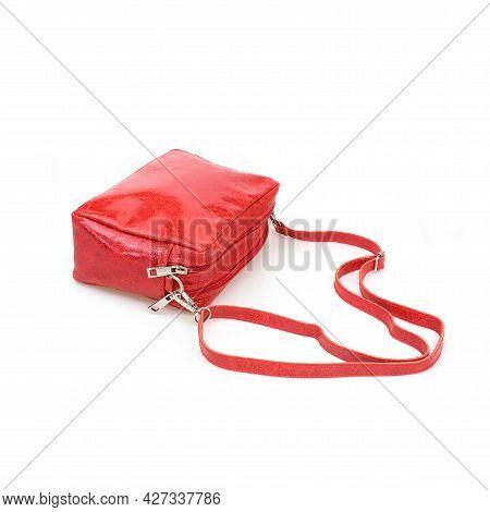 Elegant Red Female Cross Body Bag Isolated On White Background