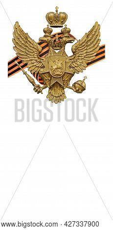 Golden Double-headed Crowned Eagle And Black And Orange Ribbon Of The Order Of Saint George Isolated
