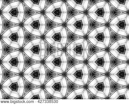 Symmetric Geometric Black And White Textured Kaleidoscope Pattern. Seamless Abstract Ornament For De