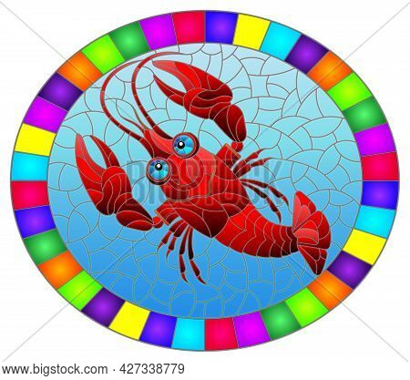 An Illustration In The Style Of A Stained Glass Window With A Bright Red Cancer, A Oval Image In A B