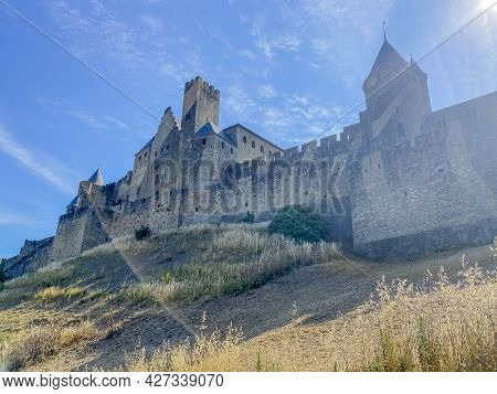 Cite De Carcassonne Is An Old Medieval Castle Located In The French City Of Carcassonne. Tower. High