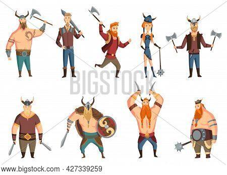 Viking People Set With Horned Helmet, Axe, Sword And Shield, Knife, Mace Or Hammer. Bearded Men Warr