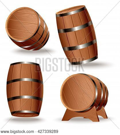 Realistic Set Of Wooden Barrels. Isolated Oak Casks With Timber Body And Iron Rings On White Backgro