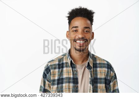 Portrait Of Handsome African American Man With Moustache, Smiling White Teeth, Looking Happy And Con
