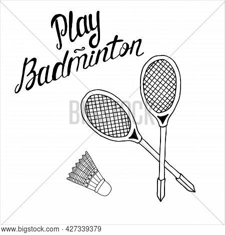 Badminton Rackets And Shuttlecock For Playing Badminton Vector Art Icon Illustration Isolated On Whi