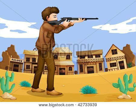 Illustration of a gunman in the neighborhood
