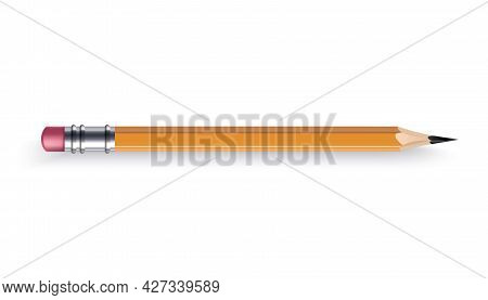 Sharpened Wooden Pencil With Rubber Eraser. Color Cartoon Icon. Realistic Isolated Item On White Bac