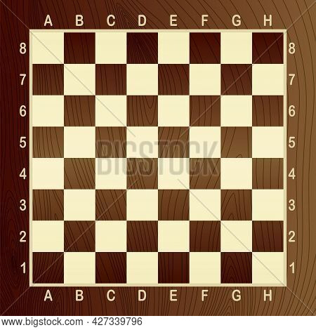 Brown Empty Chess Board. Concept Of Graphic Vector Illustration. Art Design Checkered, Checkerboard