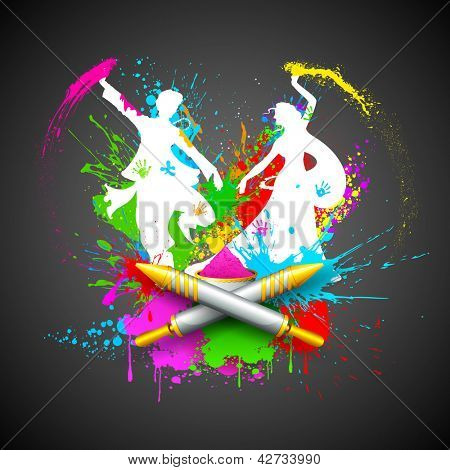 illustration of couple playing Holi with color and pichkari poster