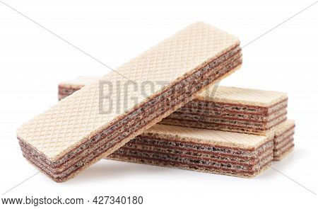 Chocolate Wafers Close-up On A White Background. Isolated