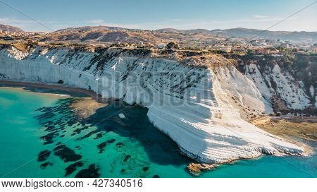 Scala Dei Turchi,sicily,italy.aerial View Of White Rocky Cliffs,turquoise Clear Water.sicilian Seasi