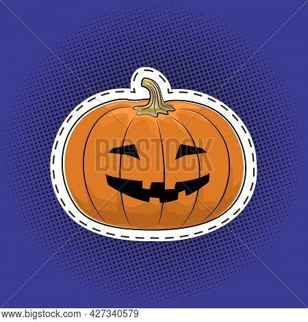 Carved Scary Pumpkin, Jack-o-lantern On A Purple Violet Pop Art Halftone Background, Halloween Holid