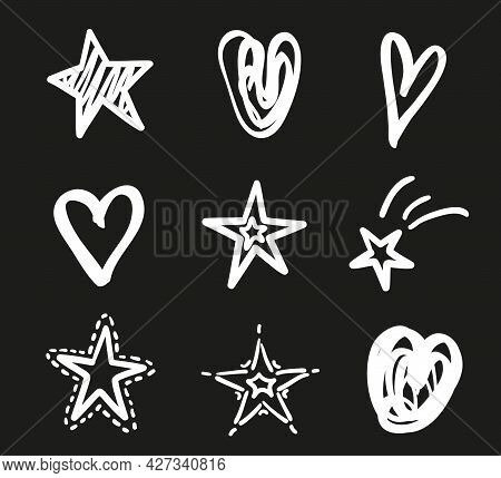 Hand Drawn White Stars And Hearts On Isolated Black Background. Freehand Art. Black And White Illust