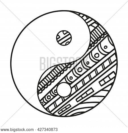Yin And Yang. Hand Drawn Symbol On Isolation Background. Design For Spiritual Relaxation For Adults.
