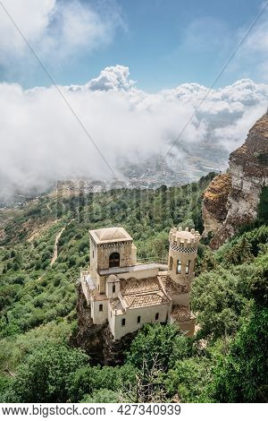 Erice,sicily,italy.historic Town On The Top Of Mountains Overlooking Beautiful Lush Countryside.view