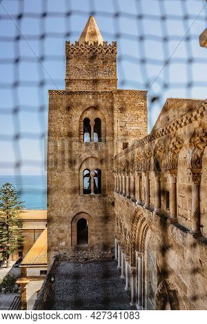 Cefalu,sicily - June 6,2021.roman Catholic Cathedral.famous Unesco Heritage Site In Italy.facade Of