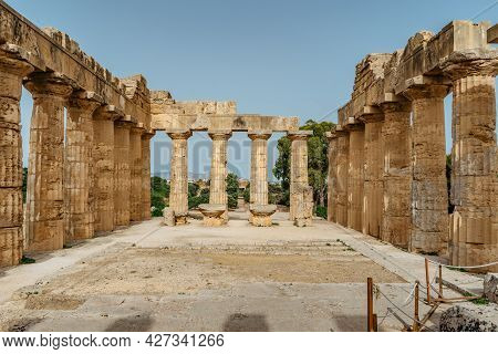 The Temple Of Hera At Selinunte Archaeological Park,sicily,italy.ruins Of Residential And Commercial
