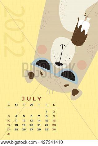 Bear Calendar. July 2022. Cute Bear In Sun Glasses Eating Ice Cream On A Yellow Background. Vector I