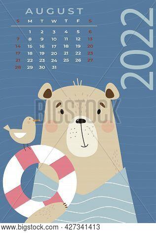 Bear Calendar. August 2022. Cute Bear Tourist With A Seagull And Lifebuoy. Vector Illustration. Vert