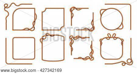 Rope Frames. Hemp Thread Square And Round Borders, Curved Nautical Cord Lines. Realistic Cartoon Sai
