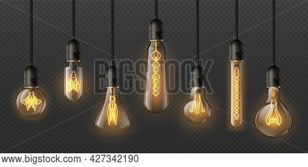 Realistic Edison Light Bulbs. 3d Retro Hanging Steampunk Lamps With Incandescent Lightbulb. Electric