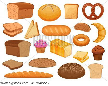 Cartoon Bread. Sweet Pastry Bun, Cupcake, Croissant And Donut. Grain Loaf, Toast Slice, Bagel, Frenc