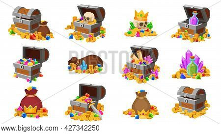 Treasure Chest. Cartoon Pirate Coins With Skull, Diamonds, Map And Potions. Fantasy Game Treasure Go