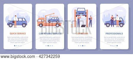 Auto Repair Service. Car Towing And Mechanical Maintenance Center Landing Pages. Screen Poster For A