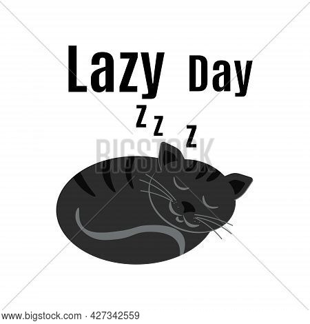 Lazy Day, Sleeping Cat For Postcard Or Banner Vector Illustration