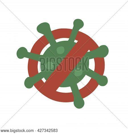 Coronavirus And Prohibition Sign. Stop Coronavirus, Stop Covid. Vector Fully Editable Isolated Illus