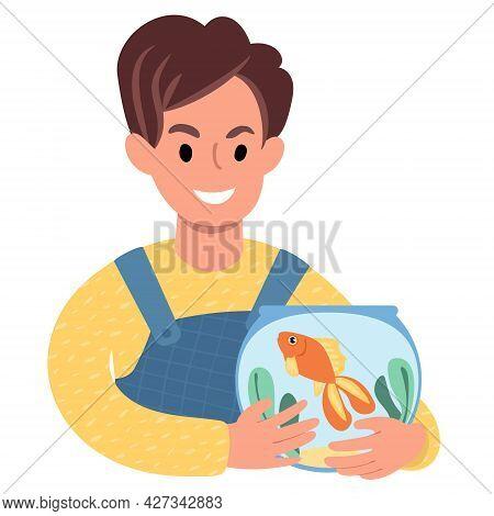 Caucasian Boy With A Pet Goldfish. Flat Style Illustration