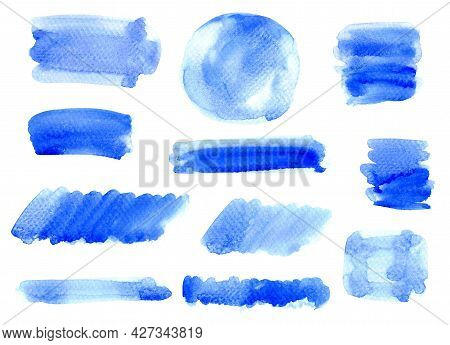 Watercolor Hand Painted, Blue Watercolor Stain, Watercolor Striped And Circle Blue Hand Drawn On Whi