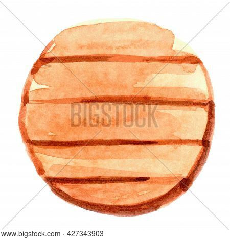 Watercolor Circle Wood Plank, Wooden Signboards Circle, Illustration Circle Wood Plank Watercolor