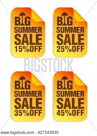 Big Summer Sale Orange Stickers Set. Sale Stickers 10%, 25%, 35%, 45% Off. Vector Illustration
