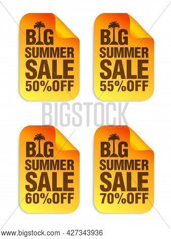 Big Summer Sale Orange Stickers Set. Sale Stickers 50%, 55%, 60%, 70% Off. Vector Illustration