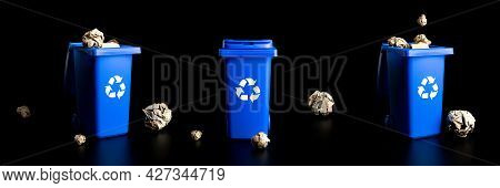 Trash Recycle Collection. Bin Container For Disposal Garbage Waste And Save Environment. Yellow, Gre