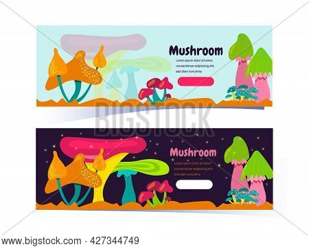 Set Of Horizontal Banners With Fantastic Mushrooms. Fabulous Or Space Mushrooms On A Light And Dark