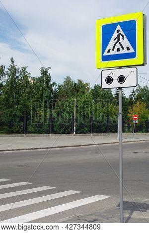 Pedestrian crossing sign. Blind pedestrians