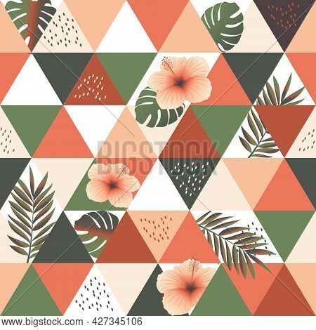 Exotic Palm Leaves And Hibiscus Flower. Seamless Trendy Abstract Pattern For Trendy Fabrics, Decorat