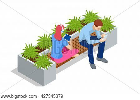 Isometric Eco Modern Street Bench Vector For Web Design Isolated On White. A Modern Bench With A Flo