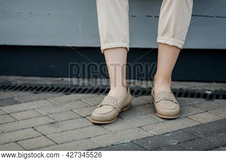 Stylish Female Comfortable Shoes. Outdoor Fashion Shoes Footwear Concept.