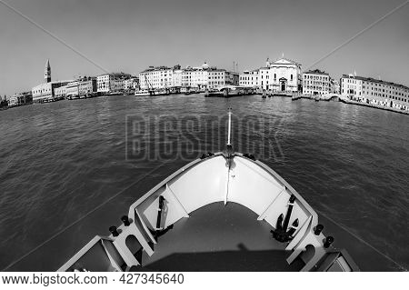 Ferry Boat At The Way To Venice. Several Ferries Serve The Smaller Islands In The Lagoon.