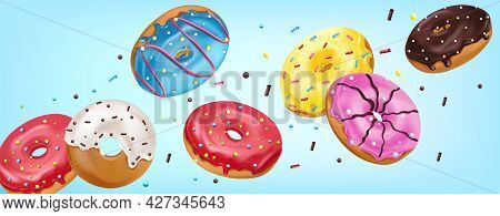 Falling Glazed Sweet Buns On Blue Background. Realistic Colorful Donuts With Pink, Chocolate, Blue,