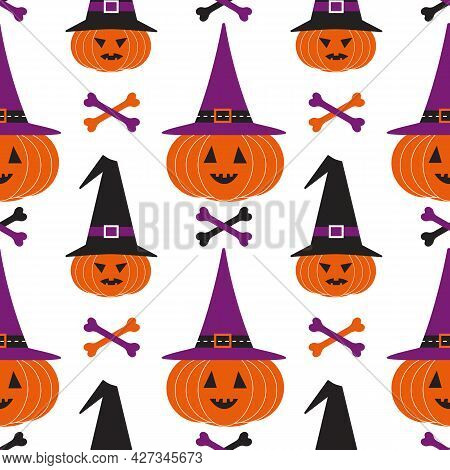 Halloween Holiday Funny Seamless Geometric Vector Pattern. Cute Scary Pumpkin In Witch Hat Bones Car