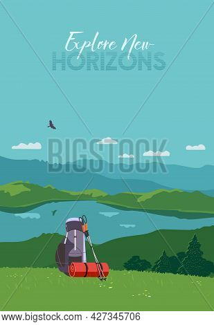 Tourist Mountain Hiking Flat Color Vector Poster. Outdoor Hike In Wild Nature Cartoon Illustration.