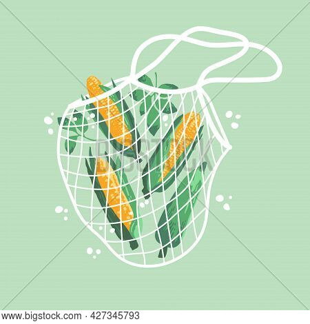 Vector Illustration Of Bright Sweet Corns In Reusable Grocery Shopping Bag