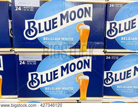 Orlando, Fl Usa - July 18, 2021:  Cases Of Blue Moon Belgian White Ale Beer At A Sam\'s Club Store I
