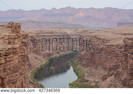 The Colorado River Flowing Under The Navajo Bridge. At The Marble Canyon Of The Grand Canyon Nationa